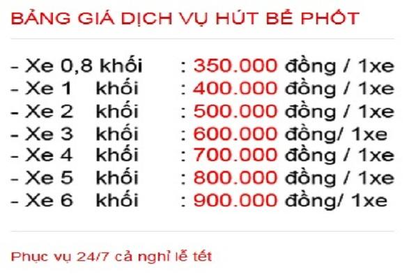 Bảng giá hút bể phốt của Việt Linh