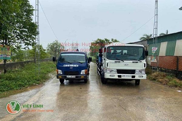 Dàn xe hút bể phốt tại Hoàng Văn Thụ
